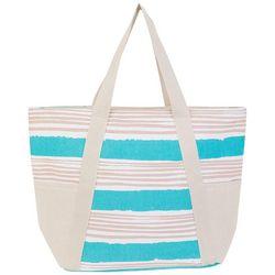 Sun N' Sand Striped Linen Beach Bag Tote