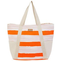 Sun N' Sand Striped Linen Beach Bag Tote