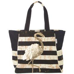 Paul Brent Flamingo Striped Beach Bag Tote