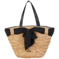 Sun N' Sand Black Bow Seagrass Tote Handbag