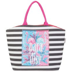 Sun N' Sand Striped Sequin Flamingo Shoulder Tote Handbag