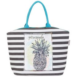 Sun N' Sand Striped Sequin Pineapple Shoulder Tote Handbag
