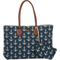 Sun N' Sand 2 Pc Anchor Print Beach Bag Tote