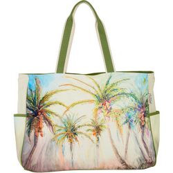 Sun N' Sand Oversized Palm Tree Print Beach Bag Tote
