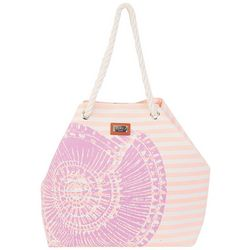Sun N' Sand Horizontal Stripes Shell Beach Bag Tote