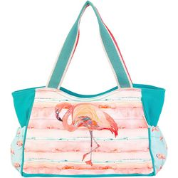 Sun N' Sand Pink Flamingo Scoop Beach Bag Tote