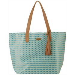 Sun N' Sand Natural Straw Chevron Tote Handbag