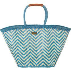 Chevron Straw Shoulder Tote Handbag