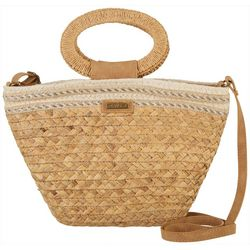 Sun N' Sand Natural Straw Bucket Crossbody Handbag