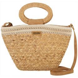 Natural Straw Bucket Crossbody Handbag