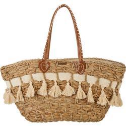 Natural Straw Pom Pom Zippered Tote Handbag