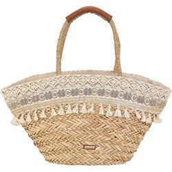 Sun N' Sand Natural Straw Pom Pom Crochet Tote Handbag