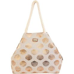 Sun N' Sand Metallic Shell Print Beachy Tote Bag
