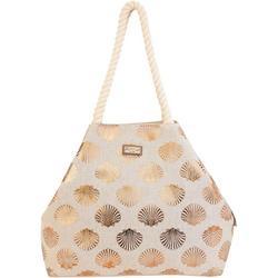 Metallic Shell Print Beachy Tote Bag