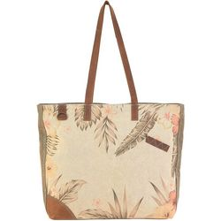 Sun N' Sand Vintage Leather Trimmed Floral Beach Tote