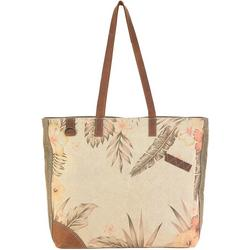 Vintage Leather Trimmed Floral Beach Tote