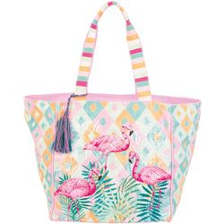 Sun N' Sand Fancy Flamingo Beach Bag Tote