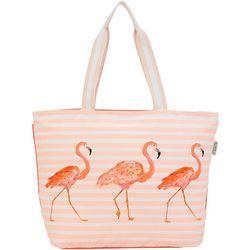 Sun N' Sand Flamingo Striped Beach Tote