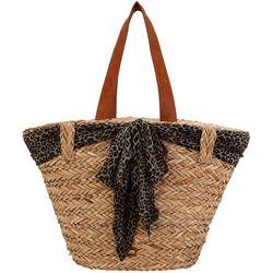 Sun N' Sand Leopard Accent Straw Beach Bag