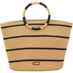 Sun N' Sand  Striped Straw Ring Handle Beach Bag Tote