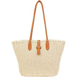 Sun N' Sand Solid Woven Straw Zippered Beach Bag Tote