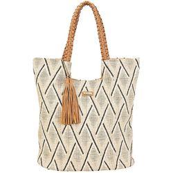 Sun N' Sand  Diamond Weave Tassel Accent Beach Bag Tote