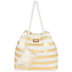 Sun N' Sand Delma Gold Stripe Gap Beach Bag Tote