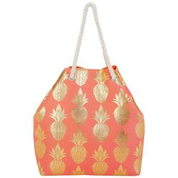 Sun N' Sand Gold Tone Pineapples Beach Bag Tote
