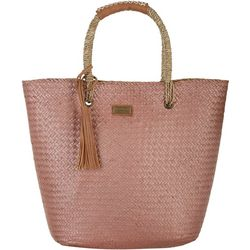 Sun N' Sand Natural Straw Metallic Tote Handbag