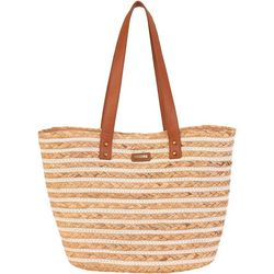 Sun N' Sand Natural Straw Stripes Tote Handbag
