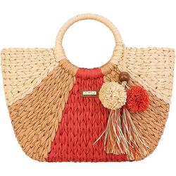 Colorblock Straw Tote Handbag