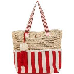 Sun N' Sand Striped Canvas and Crochet  Beach Bag Tote