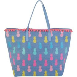 Caribbean Joe Blue Pineapple Beach Bag Tote