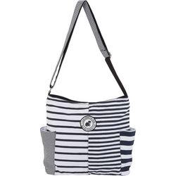 Caribbean Joe Black & White Striped Hobo Handbag