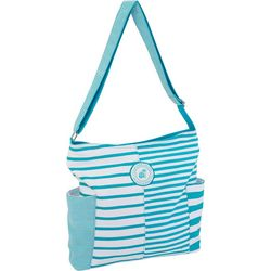Caribbean Joe Turquoise Blue & White Striped Hobo Handbag