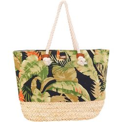 Tropical Leaves Print Tote Handbag