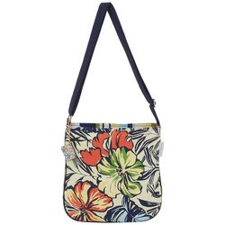 Sun N' Sand Tropical Flower Print Crossbody Handbag