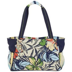 Sun N' Sand Tropical Flower Print Medium Beach Bag Tote