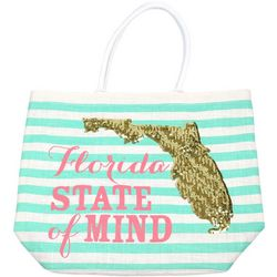 Paradise Shores Florida State Of Mind Striped Beach Bag Tote