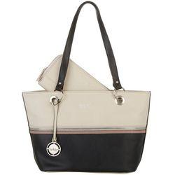 Nicole Miller New York Tri-Tone Olive Tote Handbag