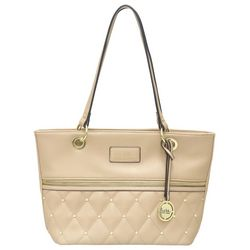 Nicole Miller New York Olivia Solid Quilted Tote Handbag