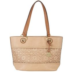 Nicole Miller New York Paradise Textured Inset Tote Handbag