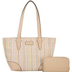 Nicole Miller New York Colored Straw Ella Tote Handbag