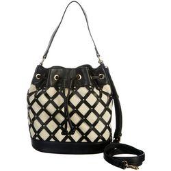 Lattice Studded Drawstring Bucket Handbag