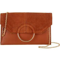 Moda Luxe Gwen Faux Suede Ring Clutch Crossbody Handbag