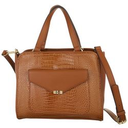 Tommy Hilfiger Tessa Crocodile Double Handle Satchel Handbag