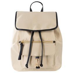 Solid Drawstring Snap Closure Backpack