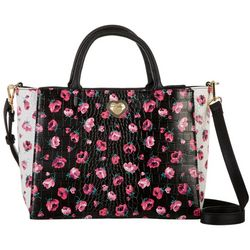 Betsey Johnson Floral Crocodile Texture Satchel Handbag
