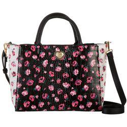 Betsey Johnson Floral Crocodile Texture Satchel Handbag