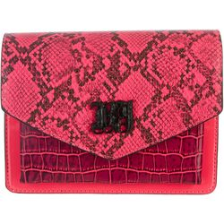 Betsey Johnson Neon Embossed Snake Print Crossbody Handbag